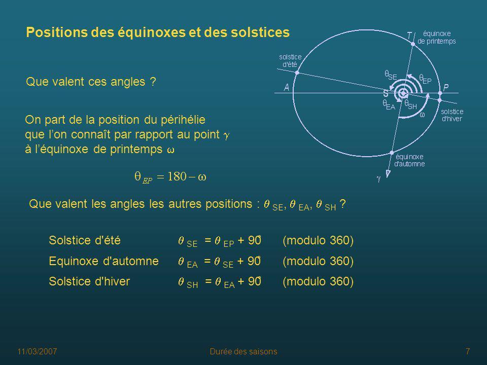 11/03/2007Durée des saisons8 Travail sur tableur A l aide des trois formules, on calcule les temps de passages aux différents points par rapport au passage au périhélie et on déduit la durée des saisons.