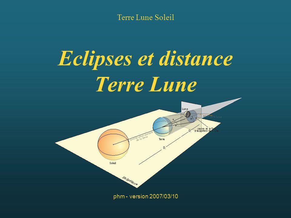Eclipses et distance Terre Lune Terre Lune Soleil phm - version 2007/03/10