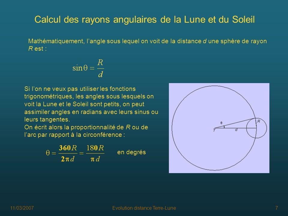 11/03/2007Evolution distance Terre-Lune7 Calcul des rayons angulaires de la Lune et du Soleil Si lon ne veux pas utiliser les fonctions trigonométriqu