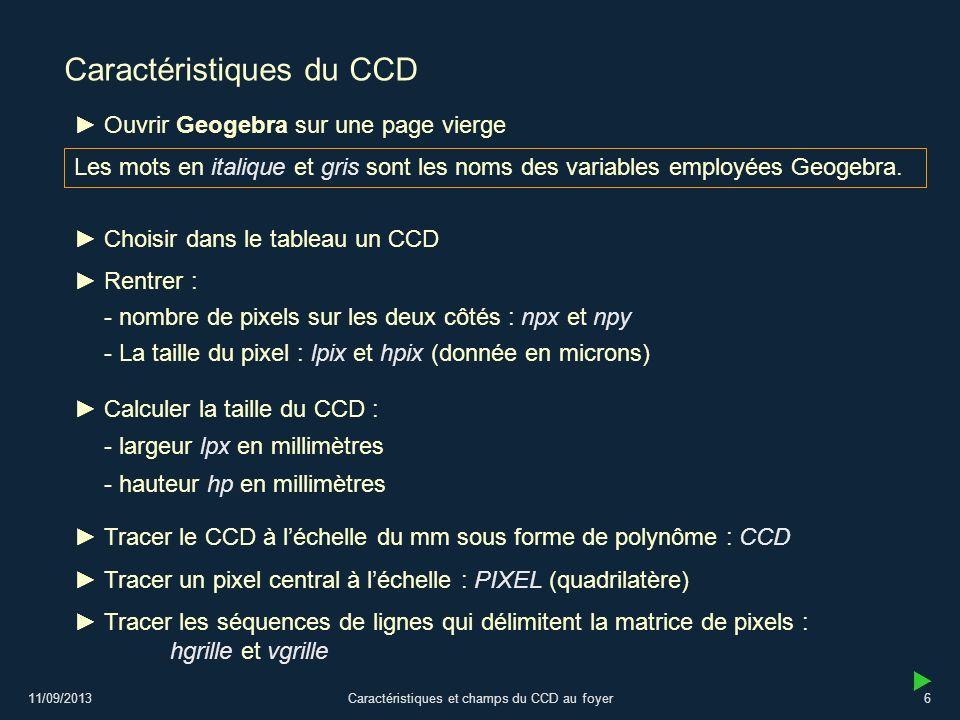 11/09/2013Caractéristiques et champs du CCD au foyer6 Caractéristiques du CCD Choisir dans le tableau un CCD - La taille du pixel : lpix et hpix (donn