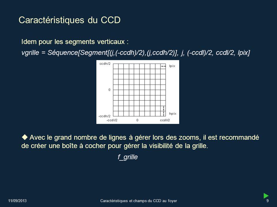 11/09/2013Caractéristiques et champs du CCD au foyer9 Caractéristiques du CCD vgrille = Séquence[Segment[(j,(-ccdh)/2),(j,ccdh/2)], j, (-ccdl)/2, ccdl/2, lpix] Idem pour les segments verticaux : Avec le grand nombre de lignes à gérer lors des zooms, il est recommandé de créer une boîte à cocher pour gérer la visibilité de la grille.