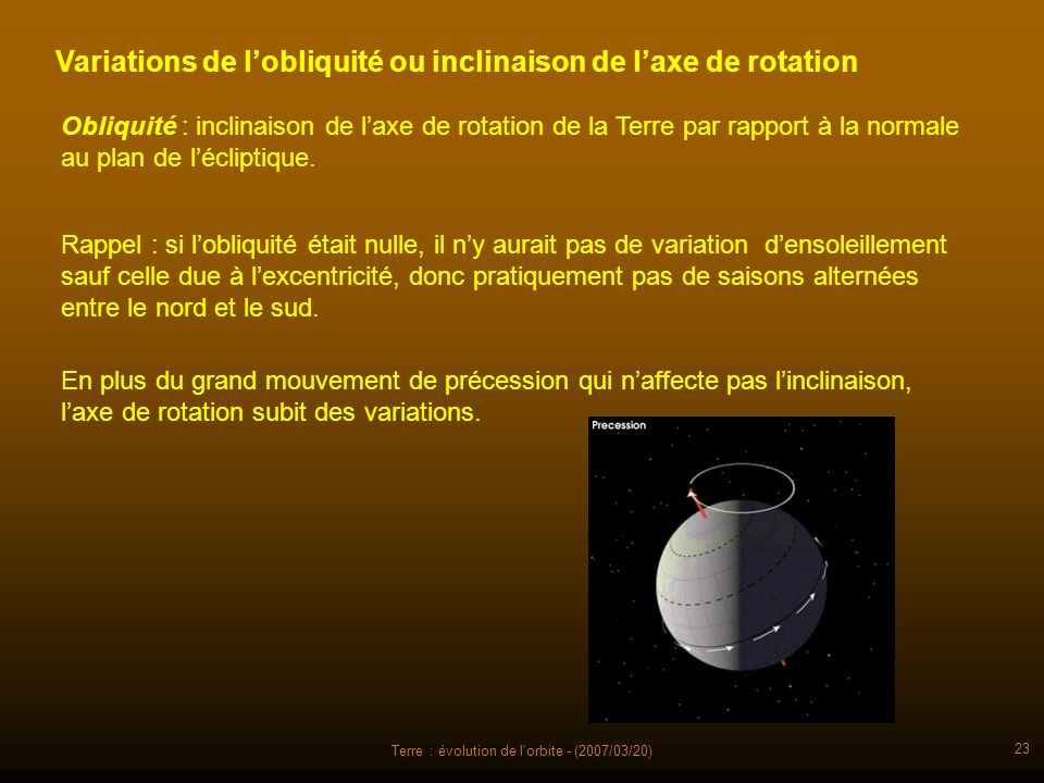 Terre : évolution de l'orbite - (2007/03/20) 23 Variations de lobliquité ou inclinaison de laxe de rotation En plus du grand mouvement de précession q