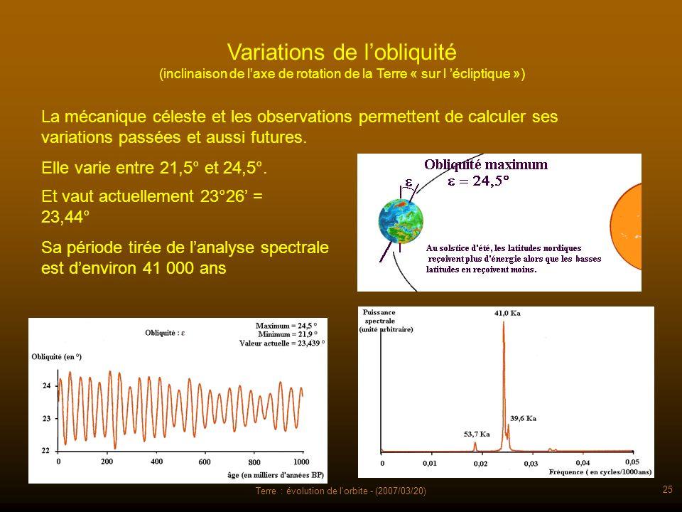 Terre : évolution de l'orbite - (2007/03/20) 25 Variations de lobliquité (inclinaison de laxe de rotation de la Terre « sur l écliptique ») La mécaniq