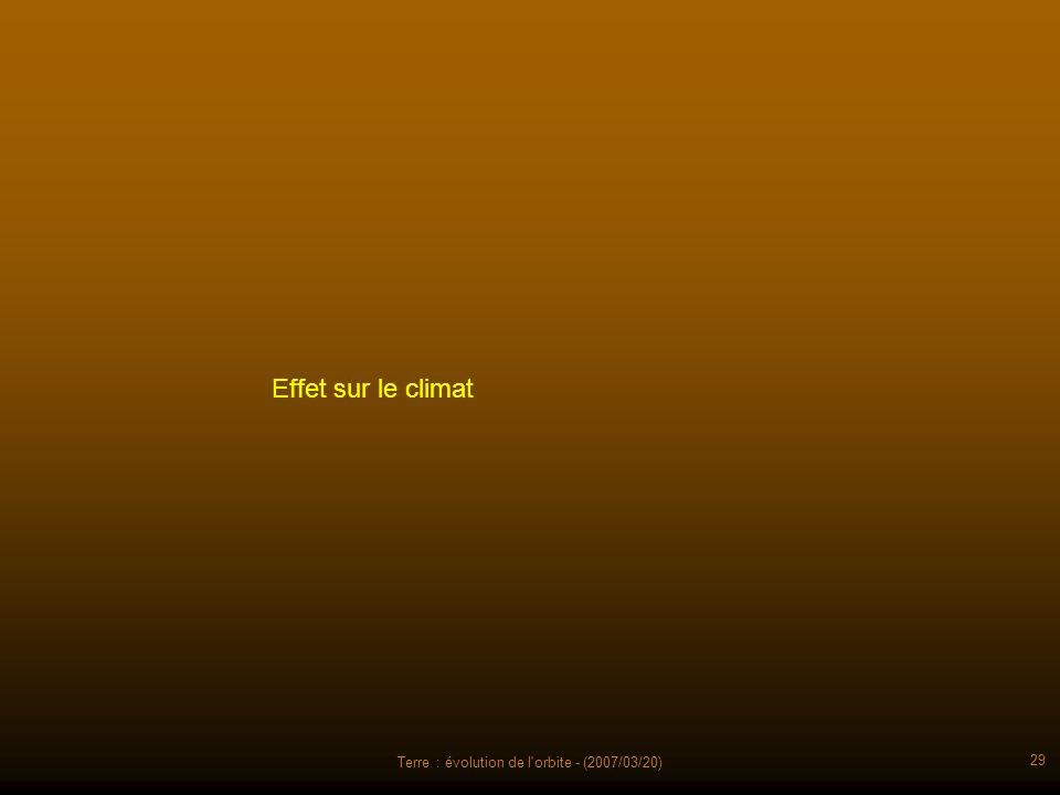 Terre : évolution de l'orbite - (2007/03/20) 29 Effet sur le climat