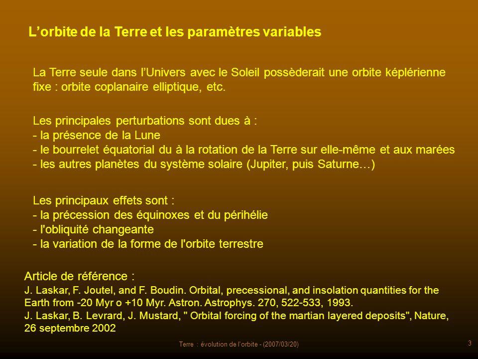 Terre : évolution de l'orbite - (2007/03/20) 3 Lorbite de la Terre et les paramètres variables Les principaux effets sont : - la précession des équino
