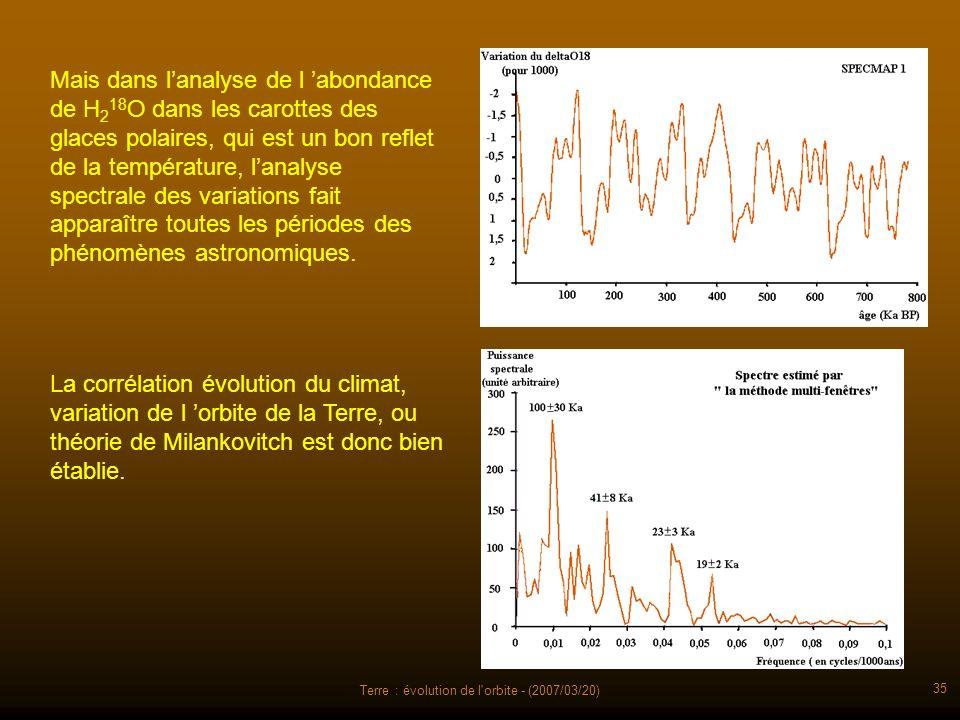 Terre : évolution de l'orbite - (2007/03/20) 35 Mais dans lanalyse de l abondance de H 2 18 O dans les carottes des glaces polaires, qui est un bon re