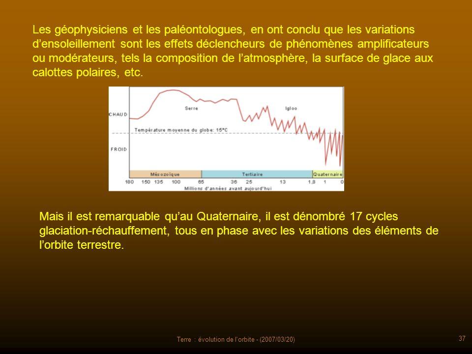 Terre : évolution de l'orbite - (2007/03/20) 37 Les géophysiciens et les paléontologues, en ont conclu que les variations densoleillement sont les eff