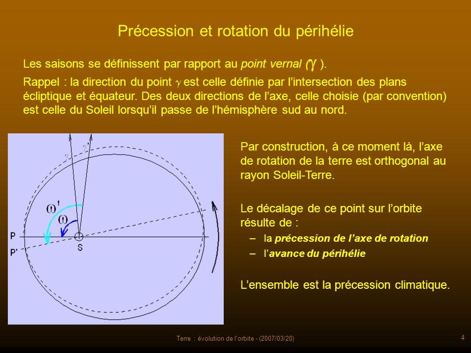 Terre : évolution de l orbite - (2007/03/20) 25 Variations de lobliquité (inclinaison de laxe de rotation de la Terre « sur l écliptique ») La mécanique céleste et les observations permettent de calculer ses variations passées et aussi futures.