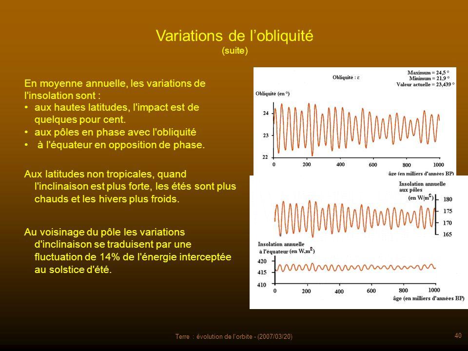 Terre : évolution de l'orbite - (2007/03/20) 40 Variations de lobliquité (suite) En moyenne annuelle, les variations de l'insolation sont : aux hautes