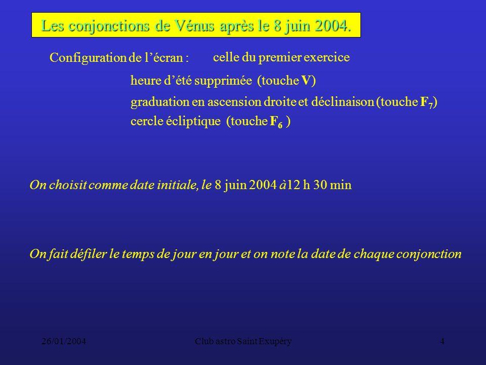 26/01/2004Club astro Saint Exupéry4 Les conjonctions de Vénus après le 8 juin 2004.