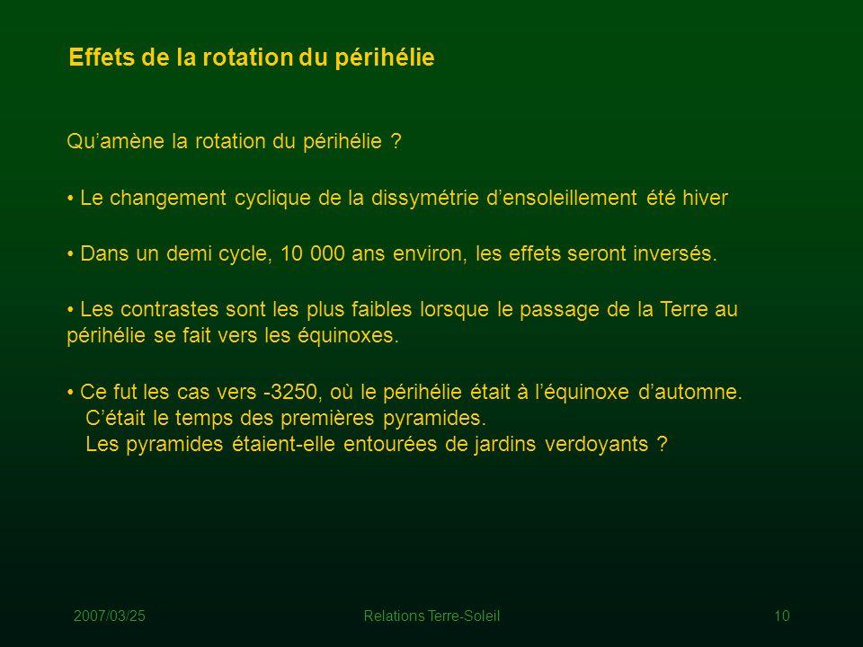 2007/03/25Relations Terre-Soleil10 Effets de la rotation du périhélie Dans un demi cycle, 10 000 ans environ, les effets seront inversés. Ce fut les c
