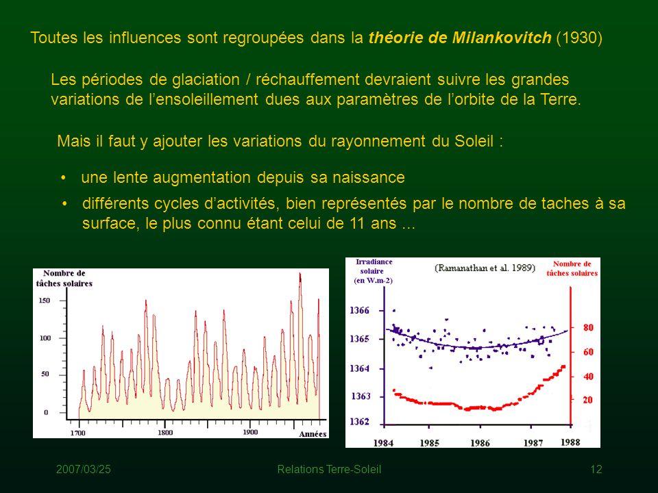 2007/03/25Relations Terre-Soleil12 Toutes les influences sont regroupées dans la théorie de Milankovitch (1930) Les périodes de glaciation / réchauffe