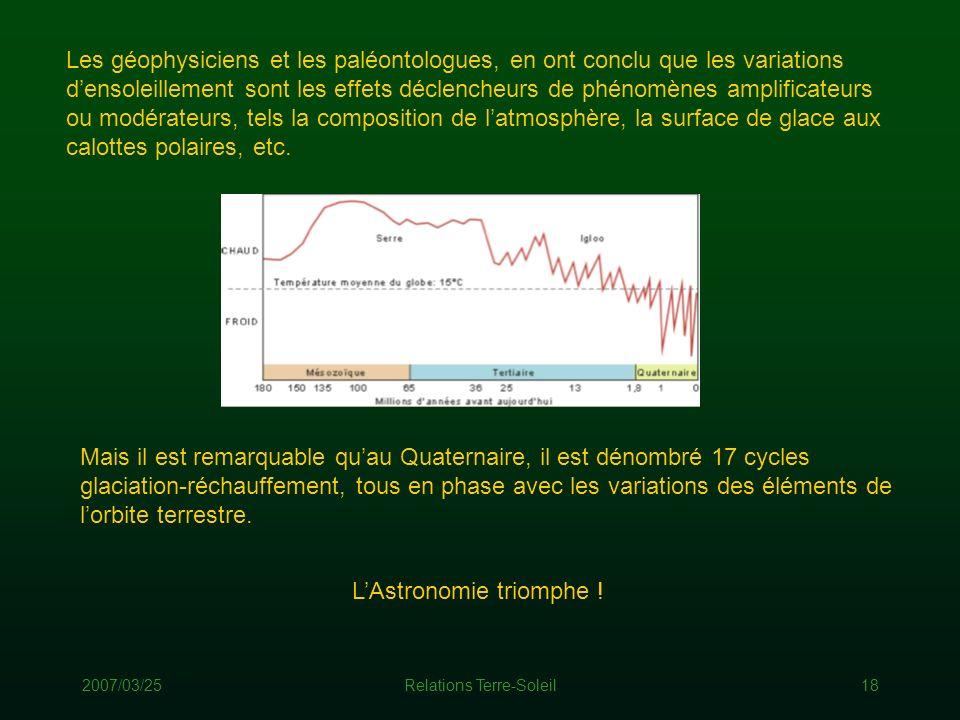 2007/03/25Relations Terre-Soleil18 Les géophysiciens et les paléontologues, en ont conclu que les variations densoleillement sont les effets déclenche