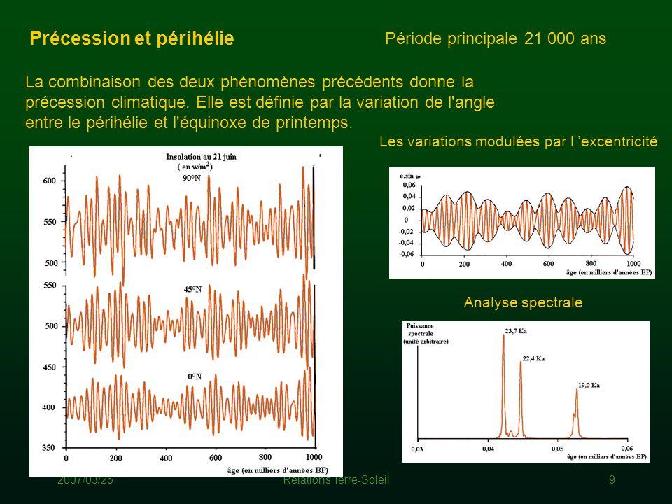 2007/03/25Relations Terre-Soleil9 Précession et périhélie La combinaison des deux phénomènes précédents donne la précession climatique. Elle est défin