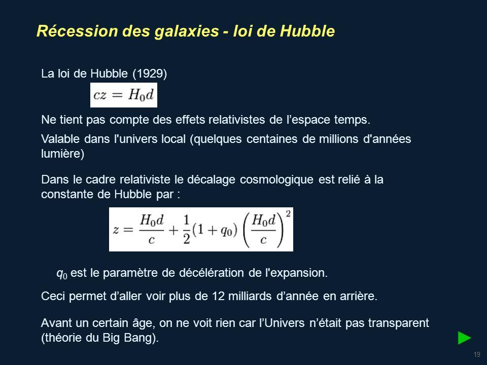 20 Récession des galaxies - loi de Hubble Découplage matière rayonnement : 377 000 après le Big Bang.