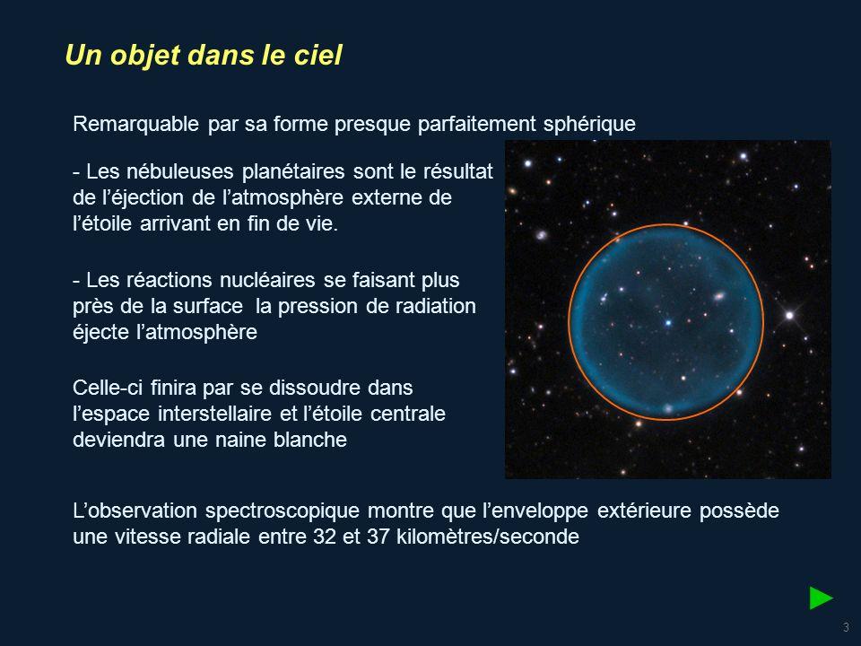 4 Un objet dans le ciel Données du problème : .Estimation de lâge de la nébuleuse .
