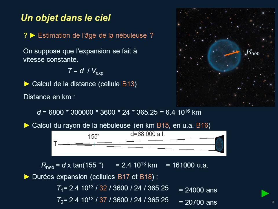 6 Un objet dans le ciel - échelle de grandeur Diamètre 160 000 u.a.