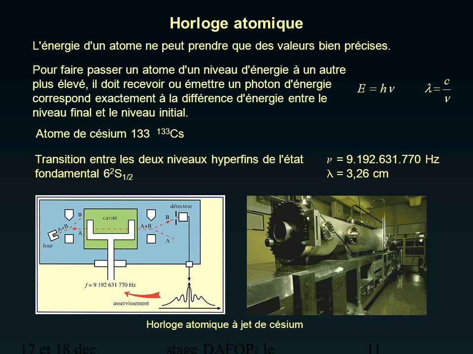 17 et 18 dec 2012 stage DAFOP: le temps 11 Horloge atomique Horloge atomique à jet de césium Pour faire passer un atome d'un niveau d'énergie à un aut
