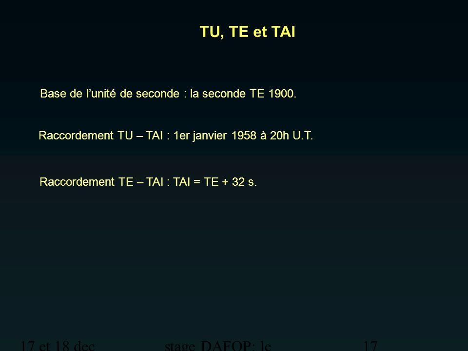 17 et 18 dec 2012 stage DAFOP: le temps 17 TU, TE et TAI Base de lunité de seconde : la seconde TE 1900. Raccordement TU – TAI : 1er janvier 1958 à 20