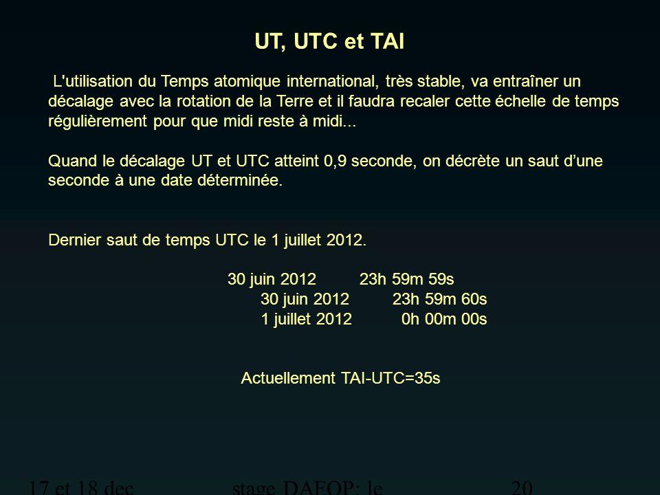 17 et 18 dec 2012 stage DAFOP: le temps 20 UT, UTC et TAI L'utilisation du Temps atomique international, très stable, va entraîner un décalage avec la
