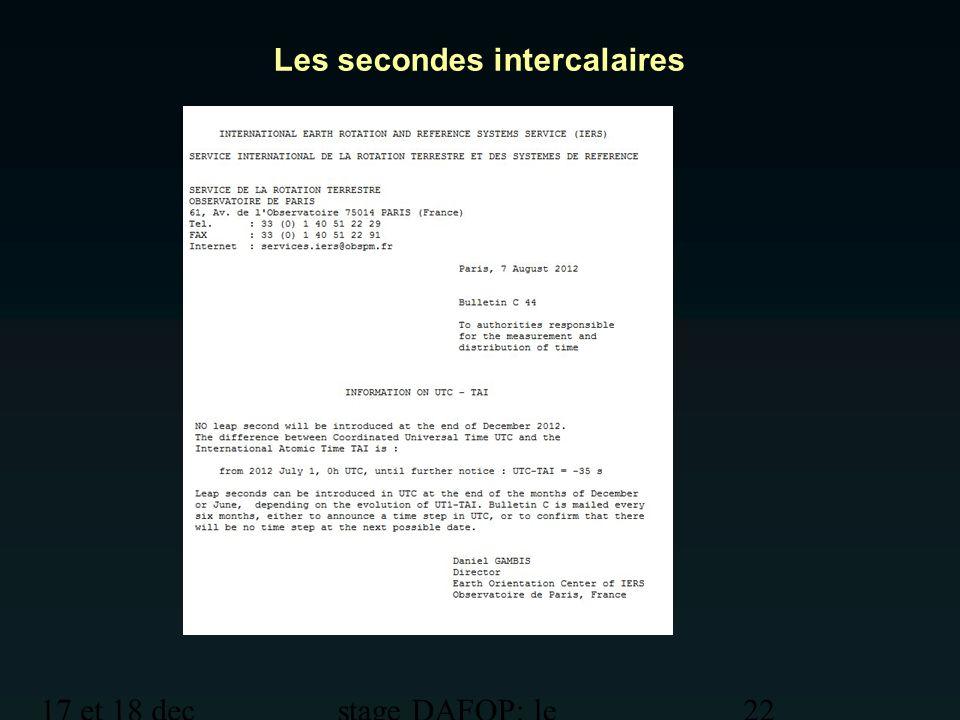17 et 18 dec 2012 stage DAFOP: le temps 22 Les secondes intercalaires