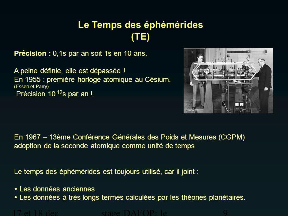 17 et 18 dec 2012 stage DAFOP: le temps 10 Le Temps atomique International (TAI) La seconde est la durée de 9.192.631.770 périodes de la radiation correspondant à la transition entre les deux niveaux hyperfins de l état fondamental de l atome de Césium 133.