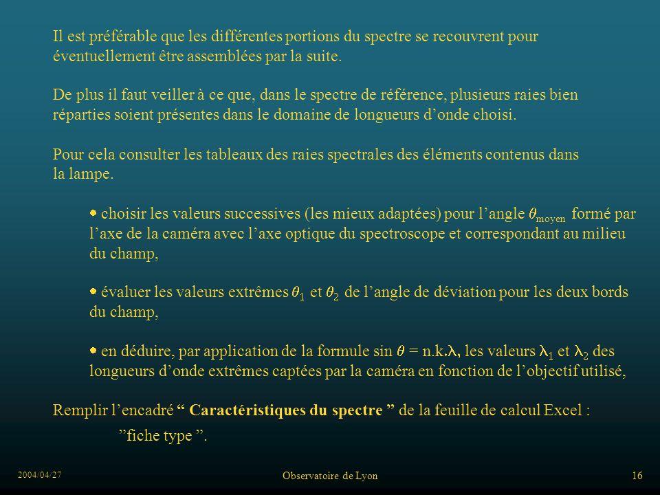 2004/04/27 Observatoire de Lyon16 Il est préférable que les différentes portions du spectre se recouvrent pour éventuellement être assemblées par la suite.