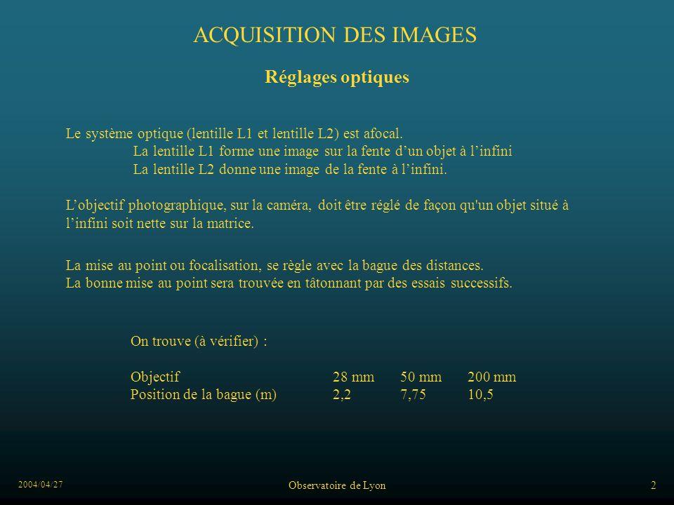 2004/04/27 Observatoire de Lyon2 ACQUISITION DES IMAGES Réglages optiques On trouve (à vérifier) : Objectif28 mm50 mm200 mm Position de la bague (m)2,27,7510,5 Le système optique (lentille L1 et lentille L2) est afocal.