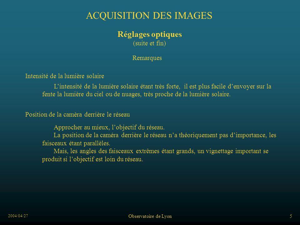 2004/04/27 Observatoire de Lyon5 ACQUISITION DES IMAGES Remarques Approcher au mieux, lobjectif du réseau. La position de la caméra derrière le réseau