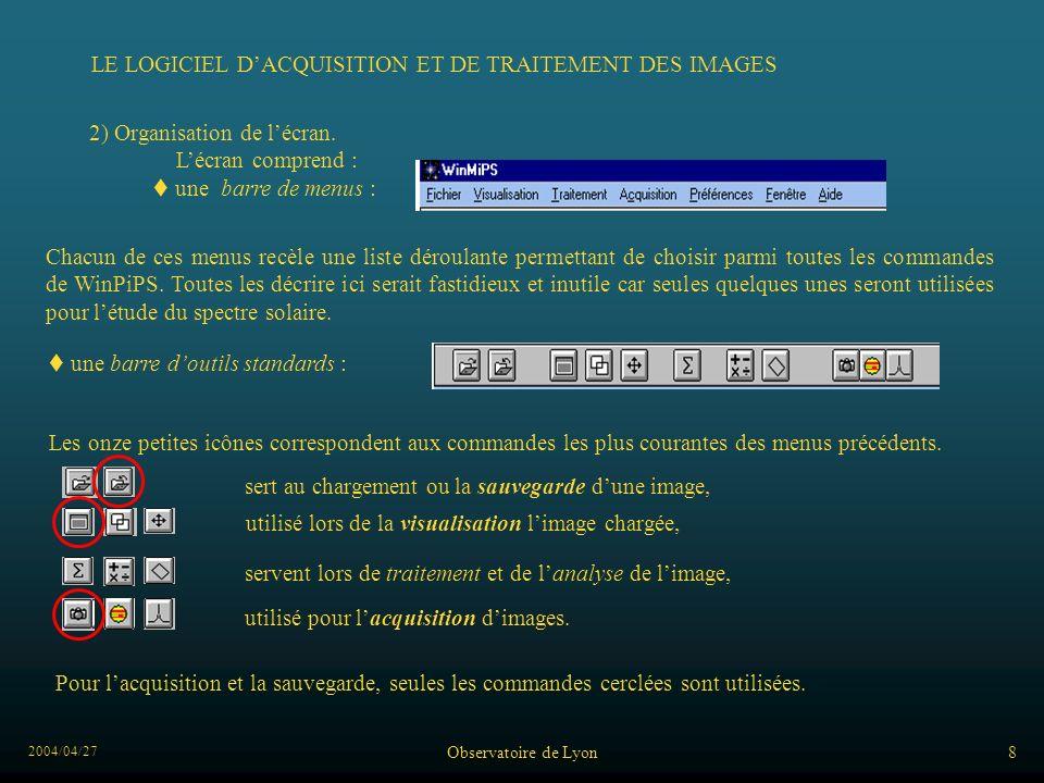 2004/04/27 Observatoire de Lyon8 LE LOGICIEL DACQUISITION ET DE TRAITEMENT DES IMAGES 2) Organisation de lécran. Lécran comprend : une barre de menus
