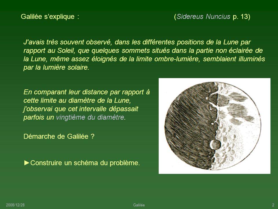 2008/12/28Galilée2 Démarche de Galilée ? J'avais très souvent observé, dans les différentes positions de la Lune par rapport au Soleil, que quelques s