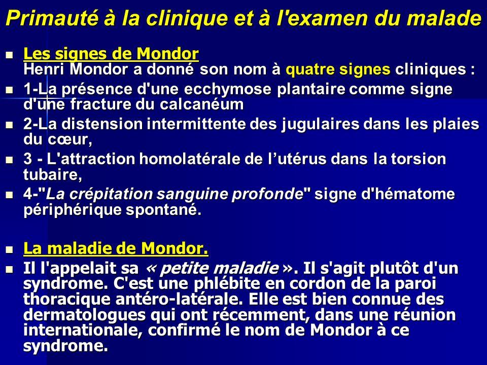 Primauté à la clinique et à l'examen du malade Les signes de Mondor Henri Mondor a donné son nom à quatre signes cliniques : Les signes de Mondor Henr