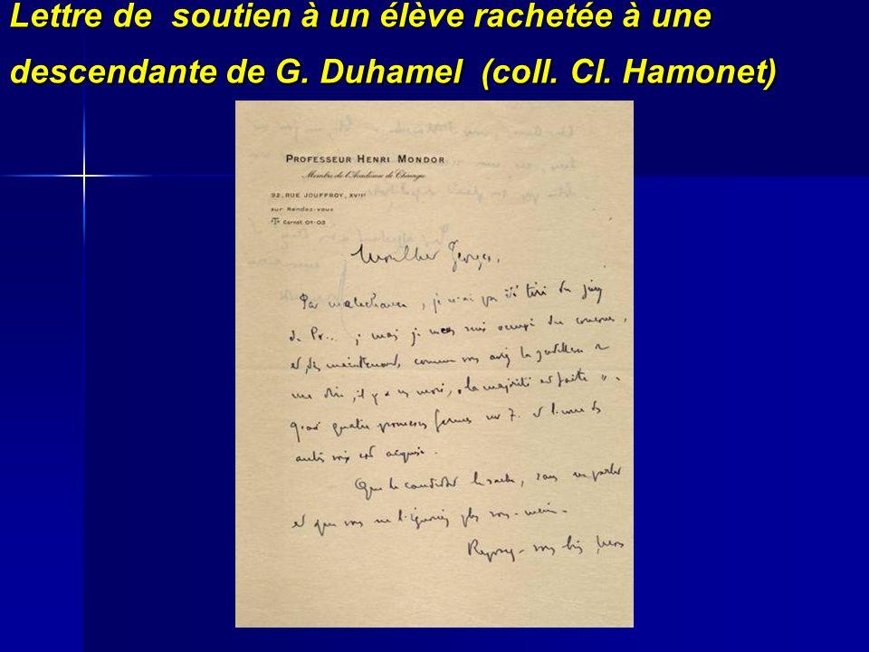 Lettre de soutien à un élève rachetée à une descendante de G. Duhamel (coll. Cl. Hamonet)