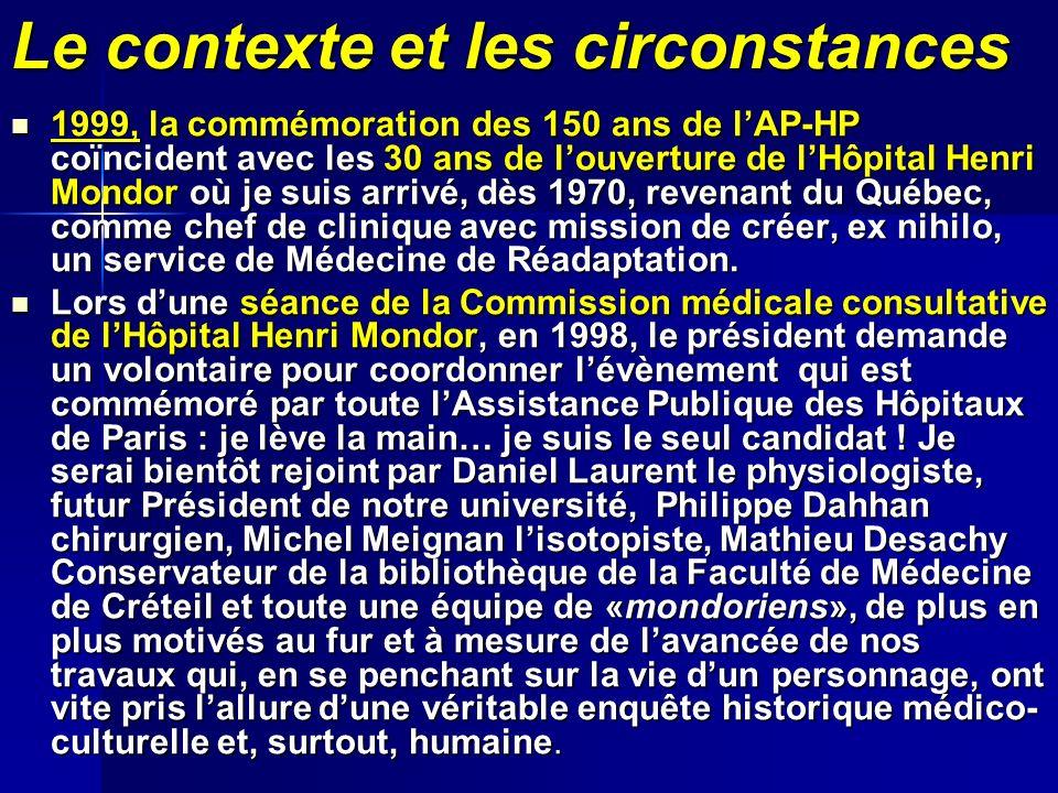 Le contexte et les circonstances 1999, la commémoration des 150 ans de lAP-HP coïncident avec les 30 ans de louverture de lHôpital Henri Mondor où je