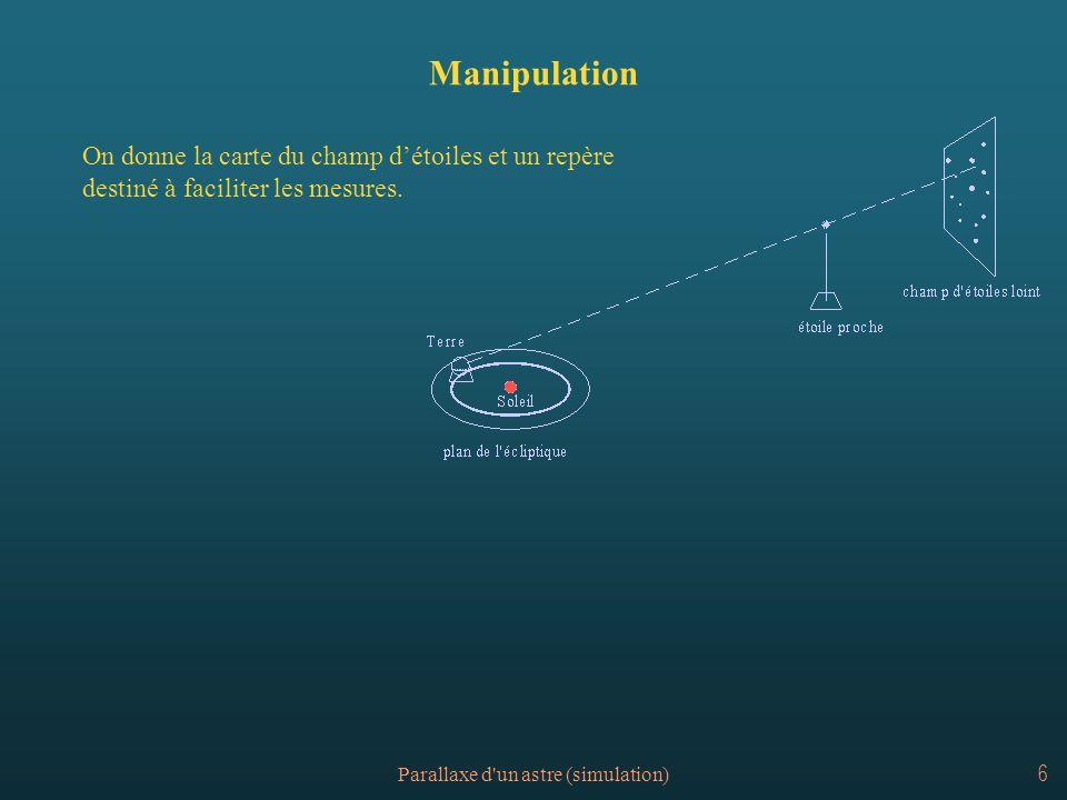Parallaxe d un astre (simulation)7 Carte du champ d étoiles
