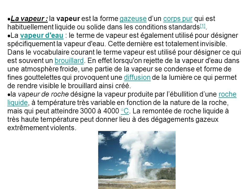 La vapeur : la vapeur est la forme gazeuse dun corps pur qui est habituellement liquide ou solide dans les conditions standards [1].gazeusecorps pur [1] La vapeur d eau : le terme de vapeur est également utilisé pour désigner spécifiquement la vapeur d eau.