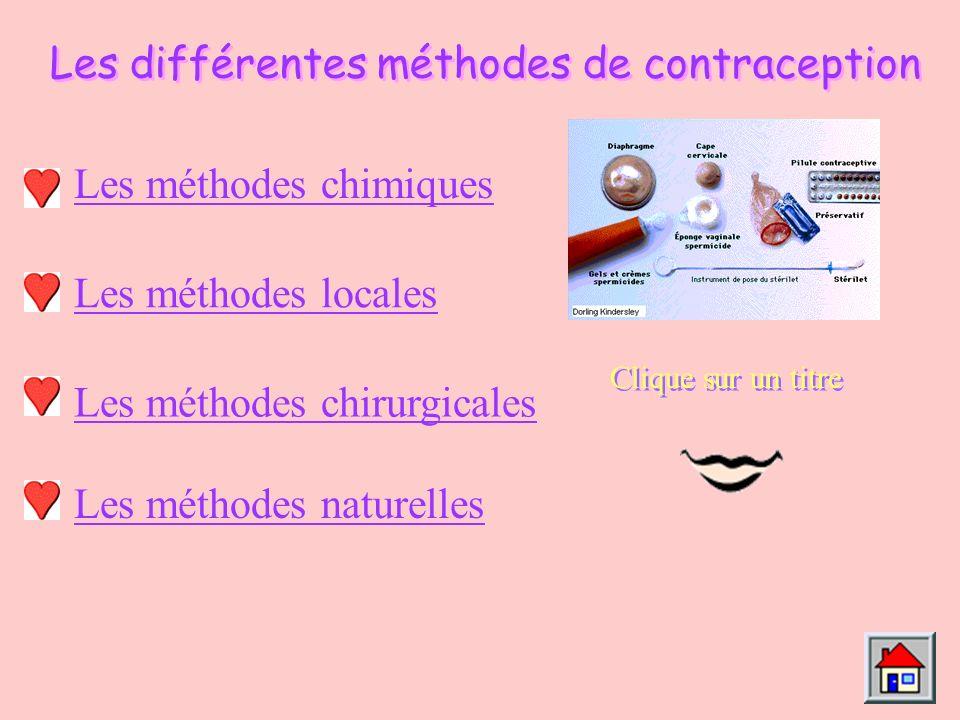 Les différentes méthodes de contraception Les méthodes chimiques Les méthodes locales Les méthodes chirurgicales Clique sur un titre Les méthodes naturelles