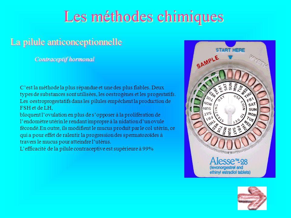 Les méthodes chimiques La pilule anticonceptionnelle La pilule anticonceptionnelle Contraceptif hormonal Cest la méthode la plus répandue et une des plus fiables.