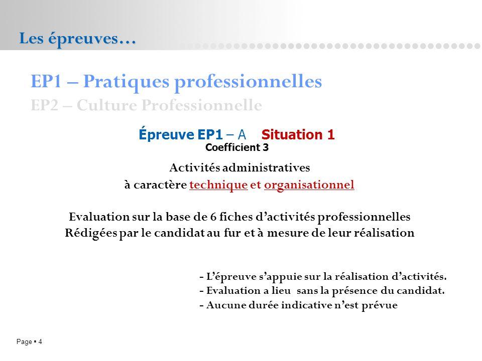 Page 4L.P. Doriole LA ROCHELLE Les épreuves… EP1 – Pratiques professionnelles EP2 – Culture Professionnelle Épreuve EP1 – A Situation 1 Coefficient 3