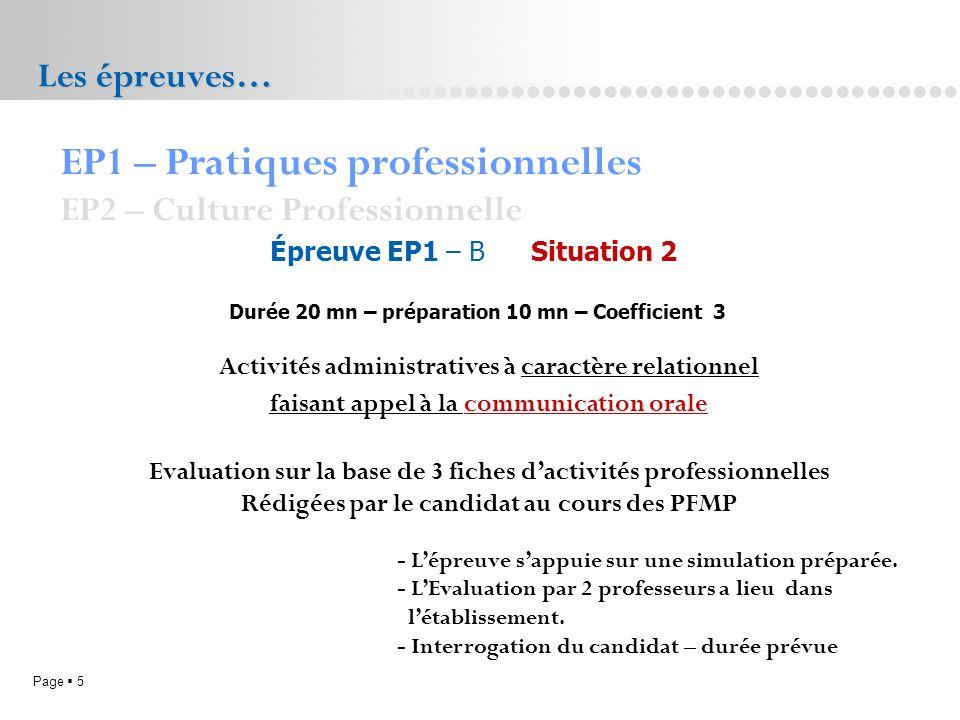 Page 5L.P. Doriole LA ROCHELLE Les épreuves… Épreuve EP1 – B Situation 2 Durée 20 mn – préparation 10 mn – Coefficient 3 EP1 – Pratiques professionnel