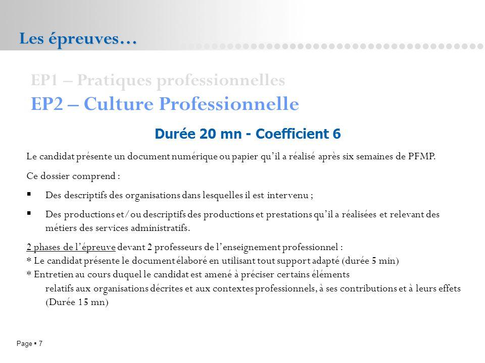 Page 7L.P. Doriole LA ROCHELLE Les épreuves… EP1 – Pratiques professionnelles EP2 – Culture Professionnelle Durée 20 mn - Coefficient 6 Le candidat pr