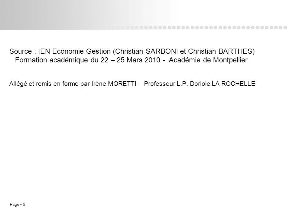 Page 9L.P. Doriole LA ROCHELLE Source : IEN Economie Gestion (Christian SARBONI et Christian BARTHES) Formation académique du 22 – 25 Mars 2010 - Acad