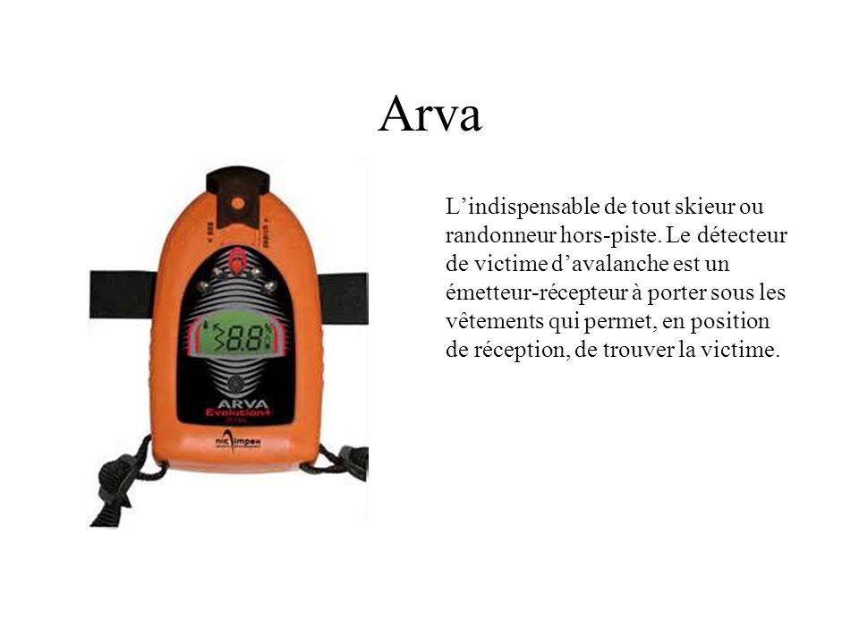 Arva Lindispensable de tout skieur ou randonneur hors-piste. Le détecteur de victime davalanche est un émetteur-récepteur à porter sous les vêtements