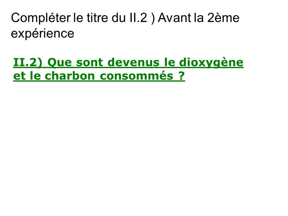 II.2) Que sont devenus le dioxygène et le charbon consommés ? Compléter le titre du II.2 ) Avant la 2ème expérience