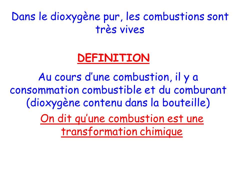 Dans le dioxygène pur, les combustions sont très vives DEFINITION Au cours dune combustion, il y a consommation combustible et du comburant (dioxygène