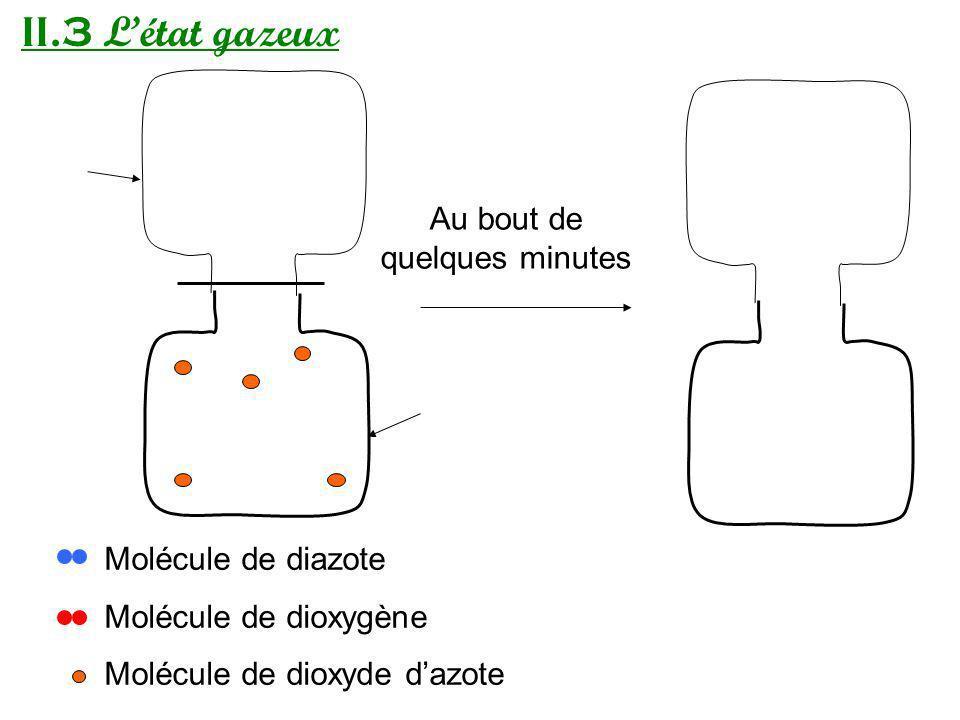 II.3 Létat gazeux Au bout de quelques minutes Molécule de diazote Molécule de dioxygène Molécule de dioxyde dazote