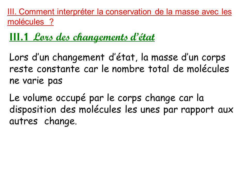 III.Comment interpréter la conservation de la masse avec les molécules .