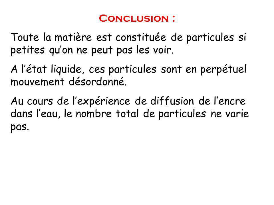 Conclusion : Toute la matière est constituée de particules si petites quon ne peut pas les voir.