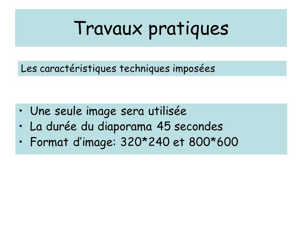 Travaux pratiques Une seule image sera utilisée La durée du diaporama 45 secondes Format dimage: 320*240 et 800*600 Les caractéristiques techniques im