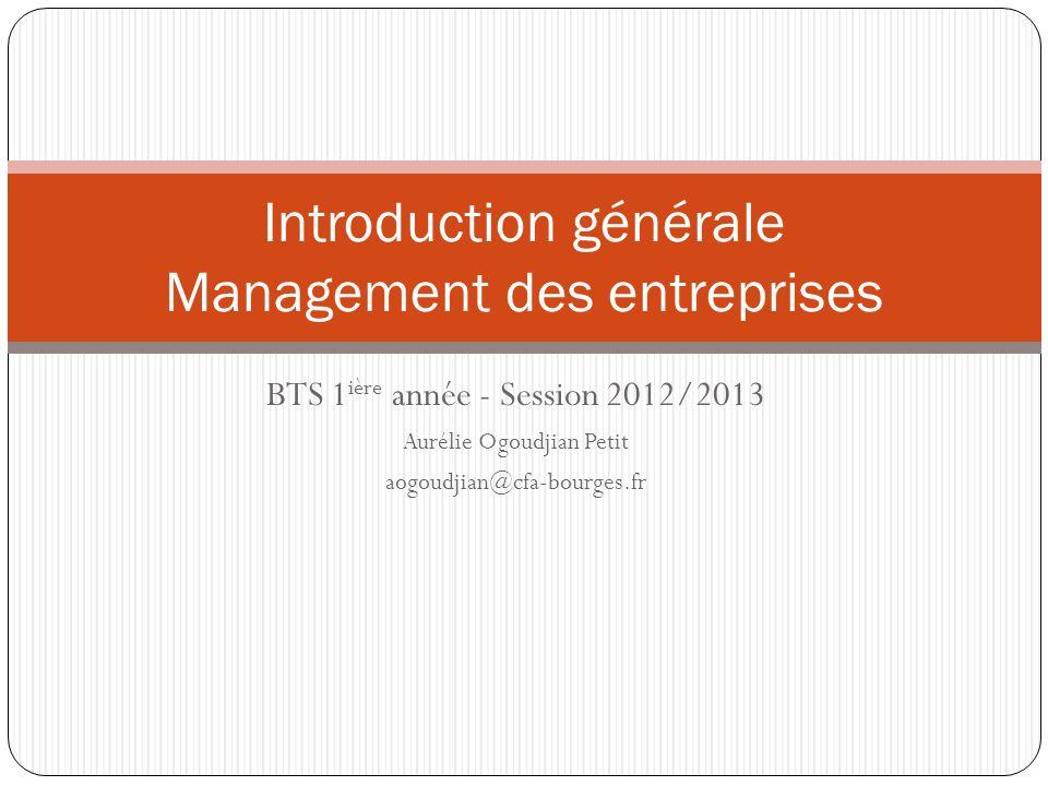 BTS 1 ière année - Session 2012/2013 Aurélie Ogoudjian Petit aogoudjian@cfa-bourges.fr Introduction générale Management des entreprises